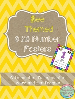 Bee Themed 0-20 Numbers Posters