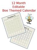 Bee Themed 12 Month Editable Calendar