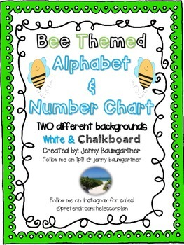 Bee Themed Alphabet and Number Chart{white background and chalkboard background}
