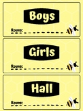 Bee Themed Bathroom and Hall Passes