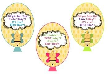 Birthday Balloons Bee Themed