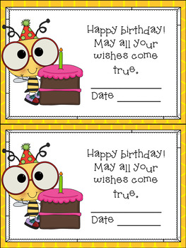Bee Themed Birthday Cards