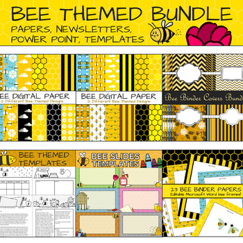 bee themed bundle papers covers newsletters power point templates