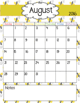 Bee Themed Calendar
