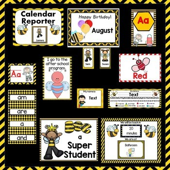 Classroom Decor  Room Theme  Bees   Editable