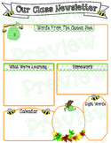 Bee Themed Editable Class Newsletter Templates ~ Fall