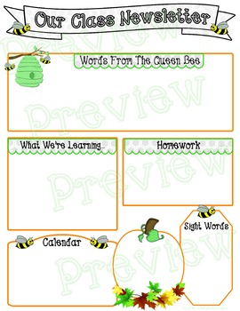 Cute Bee Themed Editable Class Newsletter Templates ~ Fall