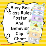 Bee Theme Classroom Rules Poster and Clip Chart