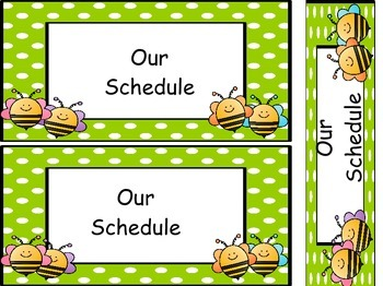 Bee Themed Class Schedule Cards