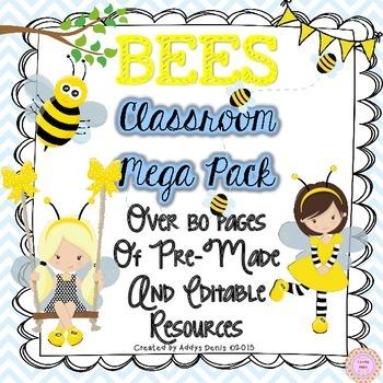 Bee Themed Classroom Decor - EDITABLE