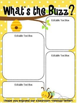 Bee Themed Classroom Newsletter Template