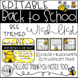 Back to School Bee Themed Classroom Wish List {Editable}
