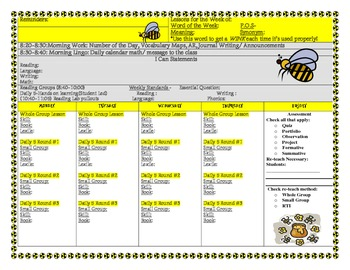 Bee Themed Common Core Lesson Plan Template