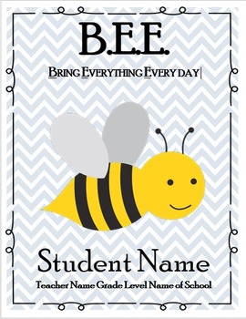 Bee Themed Communication Binder and Behavior Clip Chart and Calendars