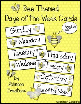 Bee Themed Days of the Week Cards