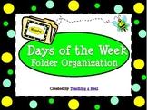 Bee Themed Days of the Week File Folder Organization