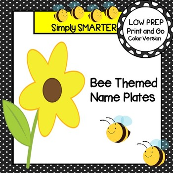Bee Themed Desk Name Plates with Alphabet and Numbers (1-20)