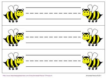 Bee Themed Desk Name Tags (9 styles) - 3 per page