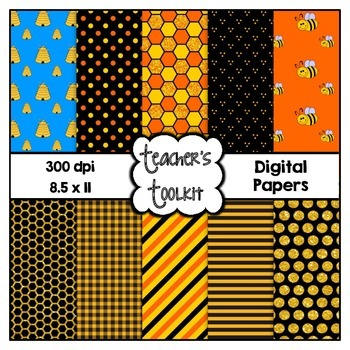 Bee Themed Digital Background Papers {8.5 x 11} Clip Art CU OK