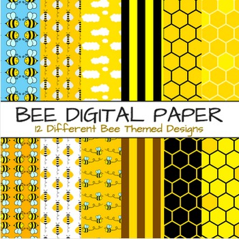 Bee Theme Digital Paper - Bees Themes 12 Papers & Backgrounds (Set A)