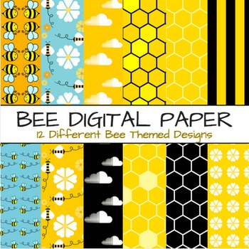 Bee Theme Digital Paper - Bees Themes 12 Papers & Backgrounds (Set B)