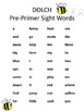 Bee Themed Dolch Pre-Primer Sight Words Literacy Center Ac