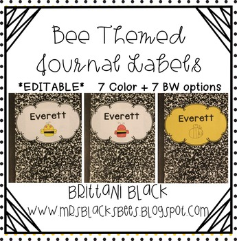 Bee Themed Journal Labels~ Editable