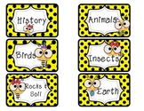 Bee Themed Library Label Cards