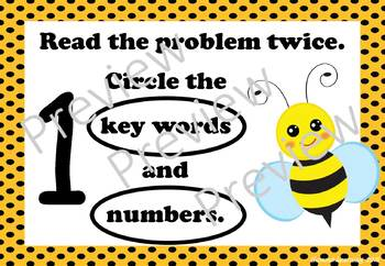 Maths Problem Solving Prompts: Bee theme
