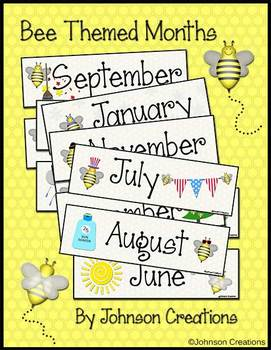 Bee Themed Months Cards