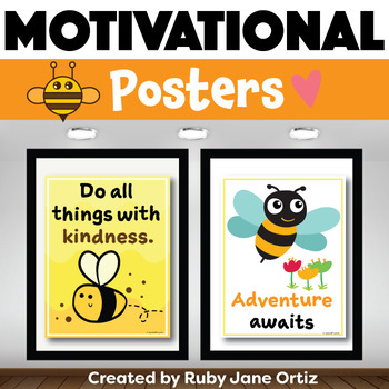 Bee Themed Motivational Posters for Back to School Bulletin Boards