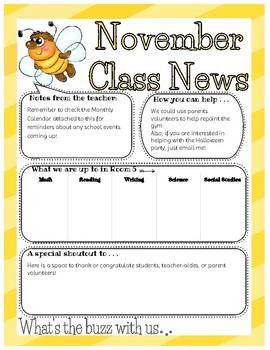 Bee Themed Newsletter w/ matching Calendar