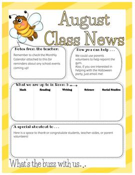 Bee Themed Newsletters, Calendar and Labels Templates