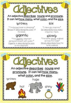 Bee Themed Parts of Speech Posters