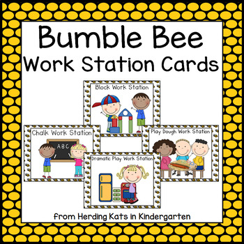 Bee Themed  Pocket Chart  Work Station Cards