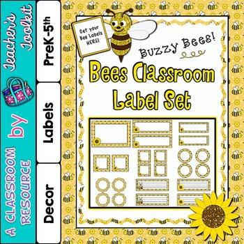 Bee Themed Classroom Label Set Plus Editable Files {UK Tea