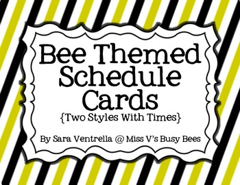 Bee Themed Schedule Cards {2 Styles + Times}