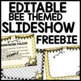Bee Themed Slideshow Presentation Editable - just add text