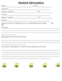 Bee Themed Student Information Sheet