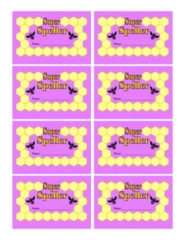 Bee Themed Super Speller Punch Cards