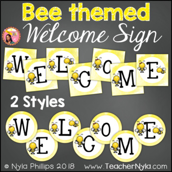 Bee Themed Welcome Sign Letters