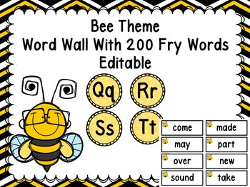 Bee Themed Word Wall With 200 Fry Words Editable