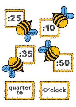 Bee Themed clock labels