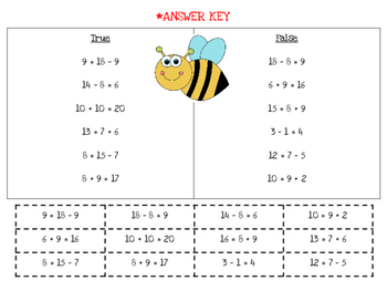 Bee True/False {Determining if addition/subtraction equations are true or false}