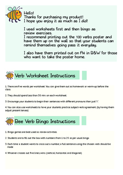 100 Essential Verbs Ultimate Worksheet & Game Package