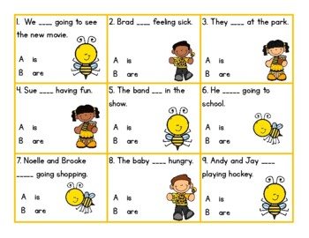 Bee Verbs - Verbs To Be (is and are)