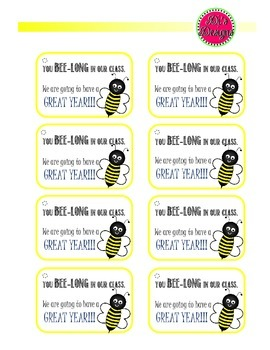 Bee Welcome Tags for Back to School Gift Bags
