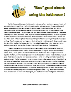 """""""Bee"""" Wise About Using the Bathroom - Bathroom Management Program"""