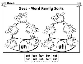 Bees - Word Family Sorts