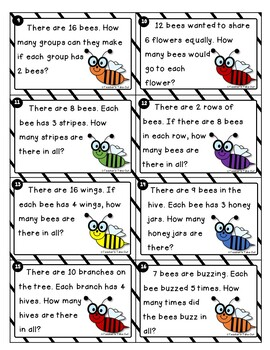 Bee Word Problem Task Cards using Multiplication and Division